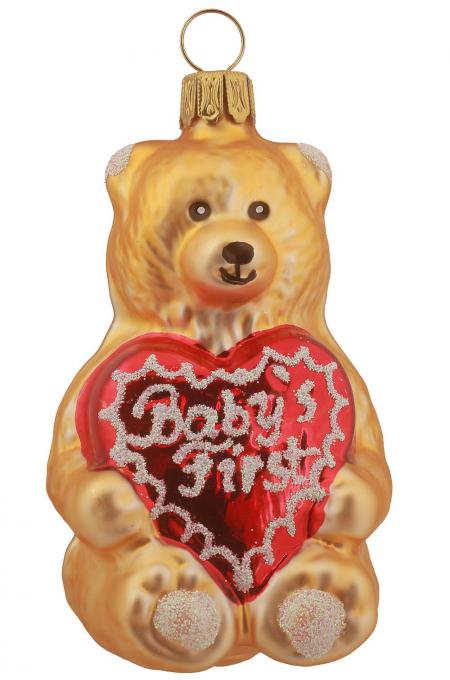Teddy mit Herz Baby´s First, gold